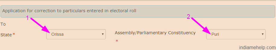 electoral roll state and district option