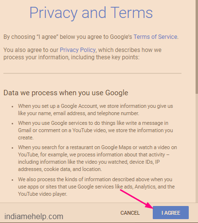 gmail account privacy and terms