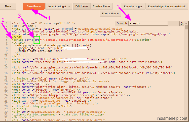 page level ads code paste on blogger theme