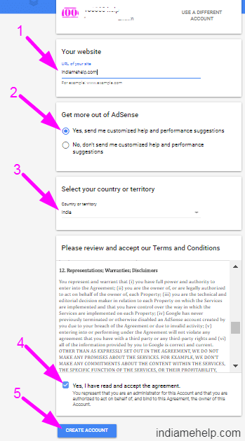 adsense account opening form