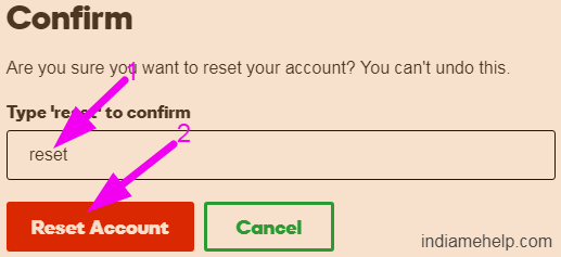 reset account option