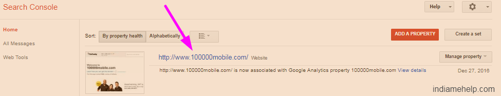 search console home page