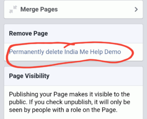 permanent delete your page