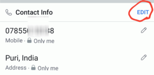 edit contact on facebook