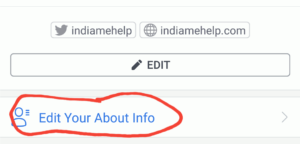 edit your about info option