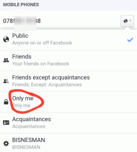 only me option on facebook