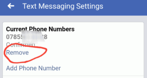 remove mobile number