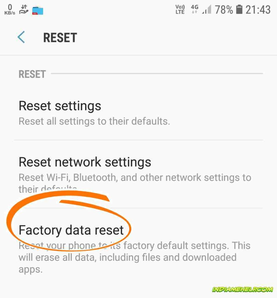 factory data reset option on mobile