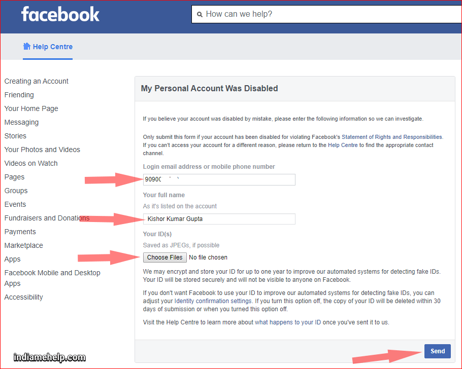 facebook account recovery form